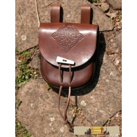 LEATHER BAG WITH BONE BUTTON