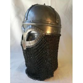 Gjermundbu Helmet with riveted chainmale - combat replica, 2mm hardened