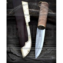 Viking damascus knife with birch burl wood handle and stamped sheath