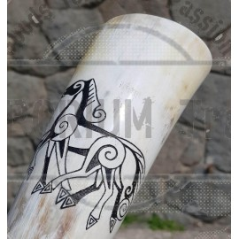 SLEIPNIR, carved drinking horn - 0.3 L