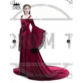 Red Off-the-Shoulder Renaissance Fairy Tale Medieval Dress