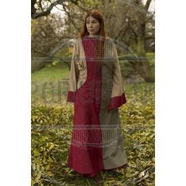 Dress Runa - Dark Red/Dryad Green