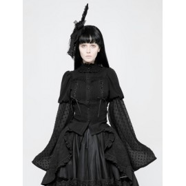 Black Gothic Lolita Trumpet Sleeve Shirt for Women