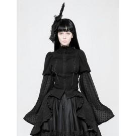 Black Gothic Lolita Trumpet Sleeve Shirt for Women