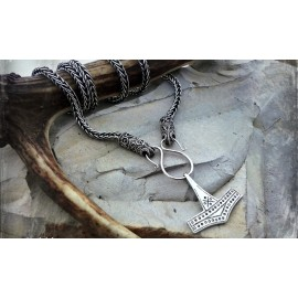 Silver Viking necklace / Viking chain with filigree raven head terminals