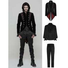 Black Vintage Gothic Swallow Tail Suit for Men