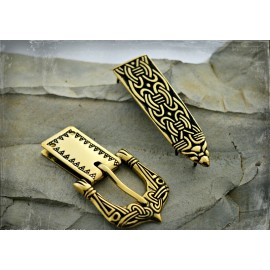 Viking belt buckle and strap end in Borre style, Birka - set in bronze