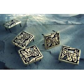 Viking belt studs in bronze, Borre style, Birka, Sweden - with bird motives