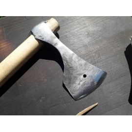 "Hand forged axe with antler ""scarbard""."