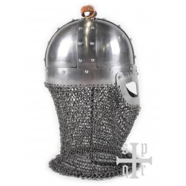 Viking Spectacle Helmet, 2 mm Steel, with Plume and Chaimail Aventail