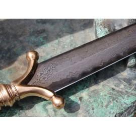 EARNAN, Celtic anthropomorphic bronze dagger, damascus steel